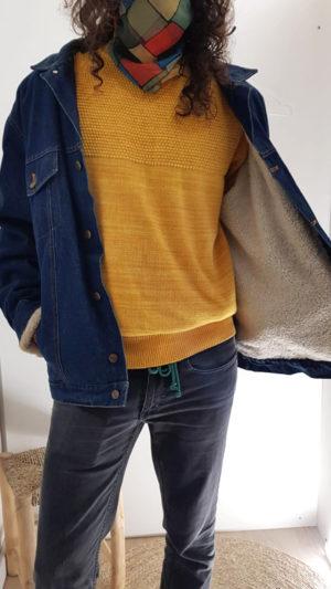 Vintage Jeansjacke mit Teddyfell 3