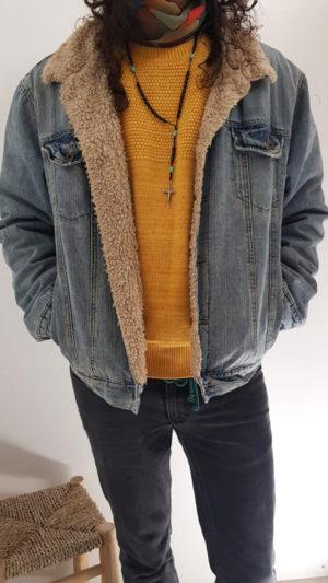 Vintage Jeansjacke mit Teddyfell 4