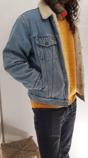 Vintage Jeansjacke mit Teddyfell 2
